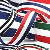 FUJIYAMA RIBBON トリコロールリボン ストライプグログラン 9mm レッド ホワイト グリーン 9.14M巻 手芸 服飾 ラッピング