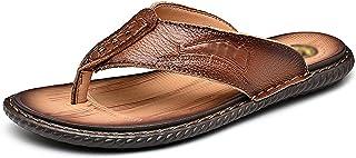 G&F Mens flip flops schoenen zomer anti-slip strand sandalen lederen koeienhuid string clip teen sandalen outdoor slippers...