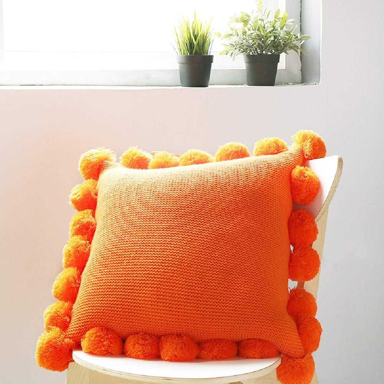 いわゆる適応的絶滅させるOrara beauty ニット クッションカバー 抱き枕カバー ピローケース 高級感 ランタンボール付き おしゃれ 無地 柔らか 肌に優しい 5色選べる (オレンジ、45×45cm)