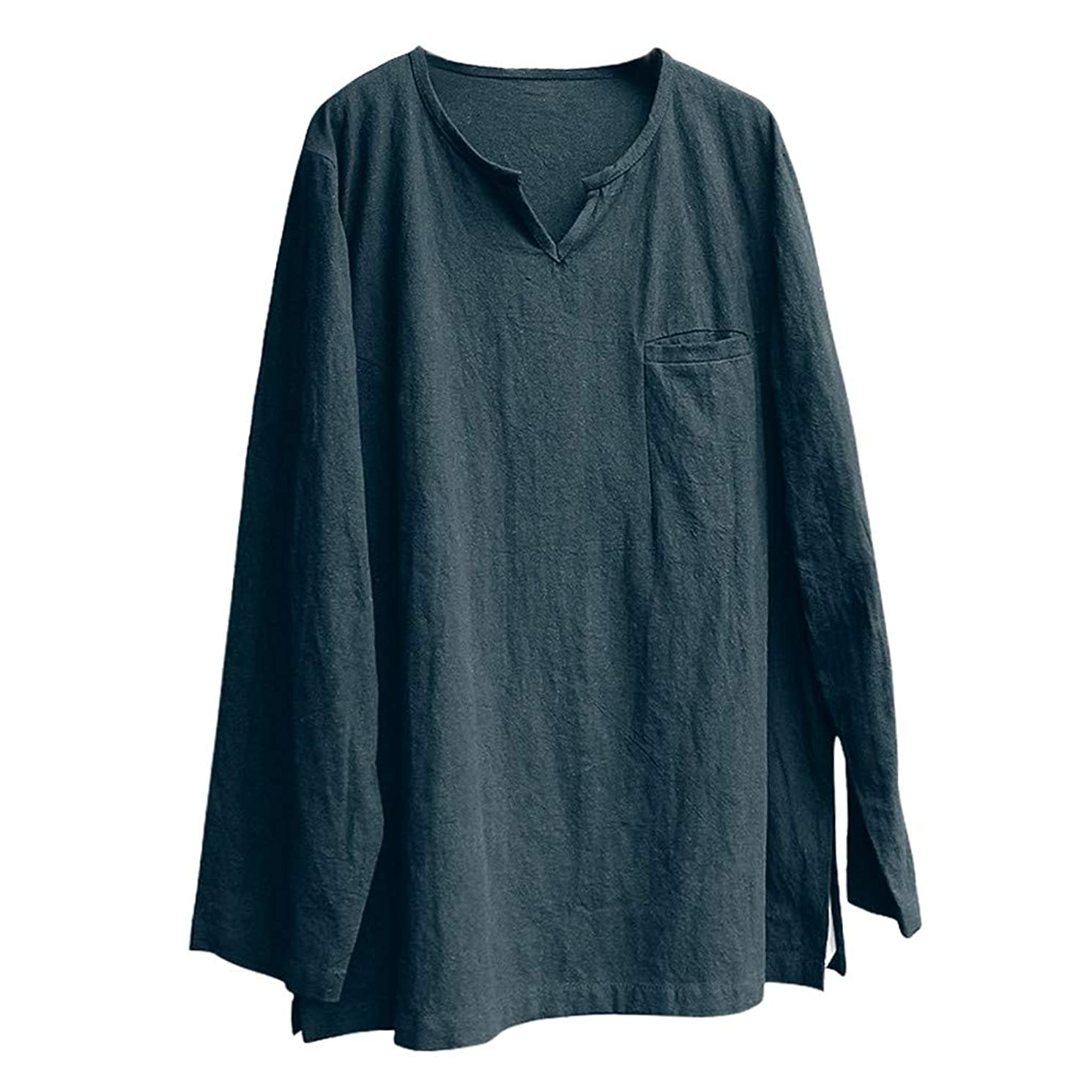 Mens Linen Shirts Tronet Mens Brief Breathable Comfy Solid Linen Long Sleeve Loose Casual T Shirt Blouse