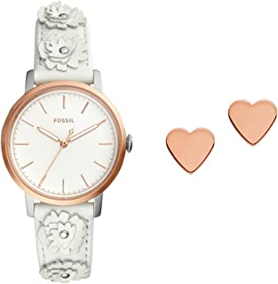 Fossil Womens Quartz Watch, Analog Display and Leather Strap ES4383SET