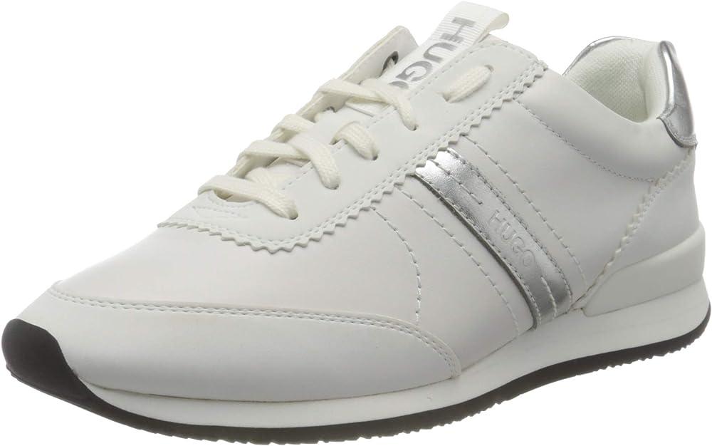 Hugo boss, adrienne_laceup_pl, scarpe da ginnastica per donna,sneakers in vera pelle 50447286