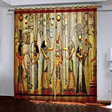 Cortinas Térmica Aislante Biombo Egipcio Clásico Vintage Cortinas Opacas Frío Y Calor con Ojales para Ventanas Salón, W 150 X L 166 Cm, 2 Paneles