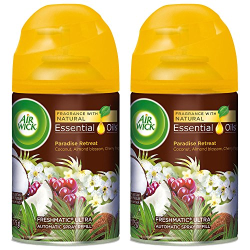 Air Wick Life Scents Automatic Air Freshener Spray Refill, Paradise Retreat with Coconut, Almond Blossom & Cherry Scent, 6.17 oz (Pack of 2)