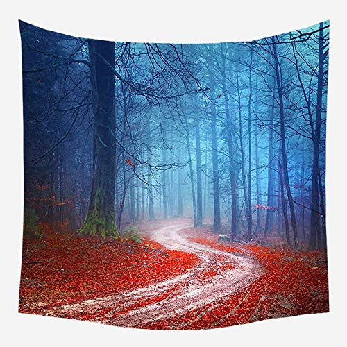 Tapiz de pared de naturaleza árbol bosque cielo estrellado tapiz de tela de pared psicodélico Mandala Tapiz tapiz de paisaje A7 73x95cm
