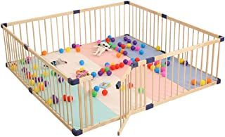 XHJYWL Playpen Extra Large Baby Safety Wooden Frame for Pet & Toddler, Play Fence with Two-Way Door, Kids Play Center Yard (Size : 180x200cm)