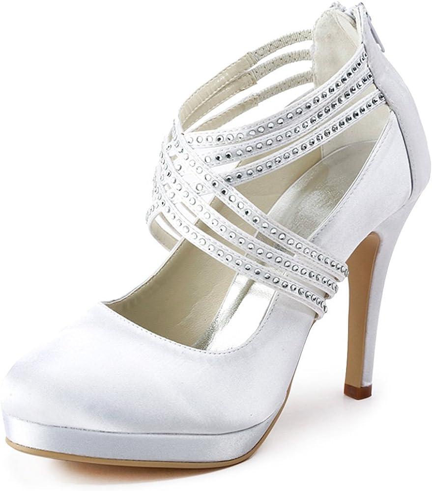 Zapatos de tac/ón alto de sat/én con punta cerrada y con bandas cruzadas de diamantes de imitaci/ón marca ElegantPark para mujer; ideales para bodas. modelo EP11085