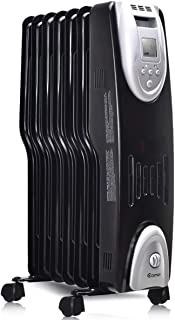 COSTWAY Oil Filled Radiator Heater, 1500W Portable Electric Heater with Adjustable Thermostat, Digital Control, Overheat & Tip-Over Protection, Space Heaters for Bedroom, Indoor Use
