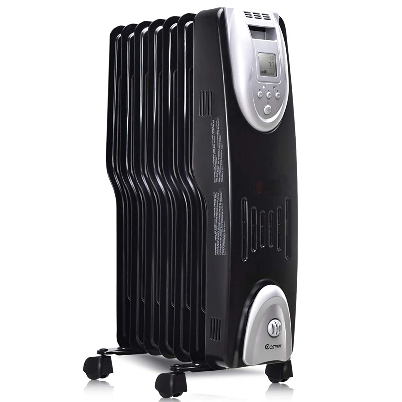 COSTWAY Oil Filled Radiator Heater Portable Electric heater with Digital Adjustable Thermostat W/Time Control(24.5