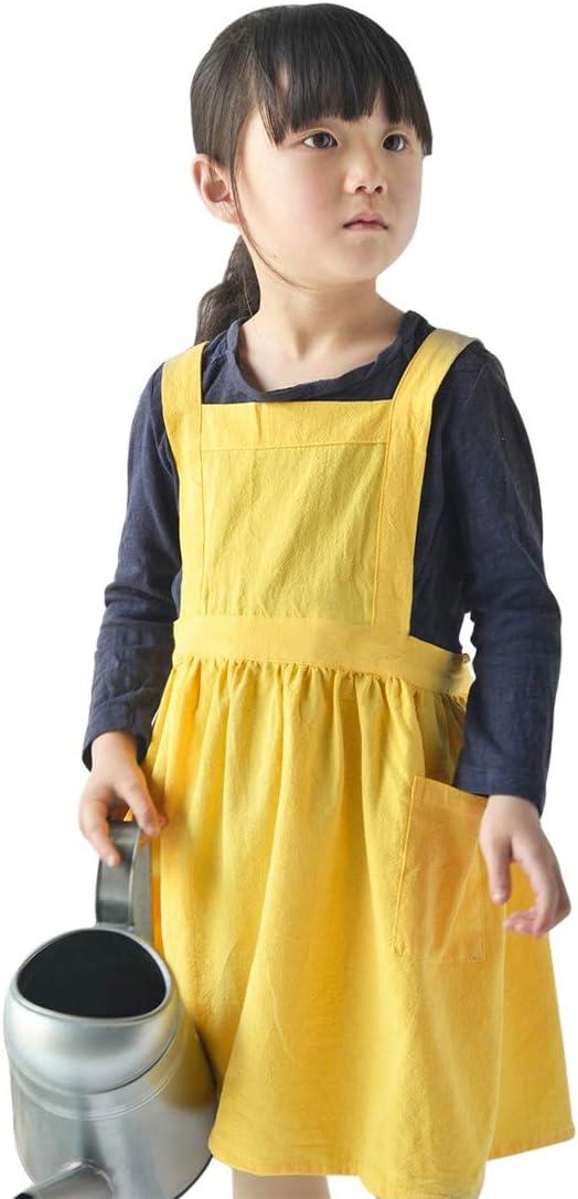 Freahap Kids Max 73% OFF Aprons Choice Pinafore Girls Linen Ap Cotton Vintage Apron