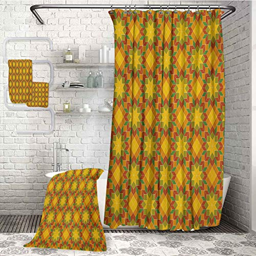 Floral Luxury waterproof shower curtain with anti-rust buckle 4-piece bathroom set Mosaic Moroccan Zellige Tile Pattern Traditional Oriental Flower Motifs Art For swimming pool spa and gym (W72'xL72'