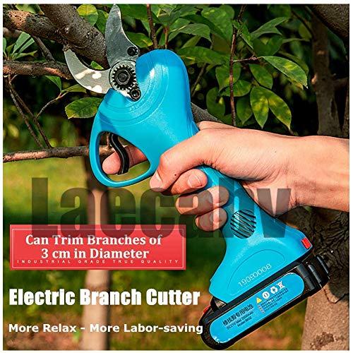 DHTOMC - Tijeras eléctricas Branch cortadoras de 21 V de iones de litio, recargable, sin cable, para jardín, Bypass Branch Pruner, tijeras ergonómicas Sharp Cutting Tool (azul)