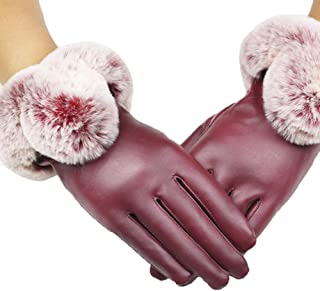 Fashion Women Lady Black Leather Gloves Autumn Winter Warm Rabbit Fur Mittens Luvas Full Finger Hot Women's Gloves