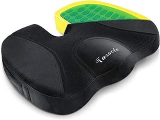 Tusscle Cojin coxis ortopedico de Gel,cojin ergonomico cojin coxis,100% Material de Espuma de Memoria para Silla de Oficina,Coche Sentarse con Silla de Ruedas (45 * 35 * 7 cm)