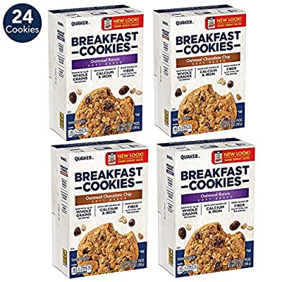 Quaker Breakfast Cookies, Oatmeal Chocolate Chip, 6 Cookies Per Box,net weight 10.1 ounce(288g), (Pack of 6)