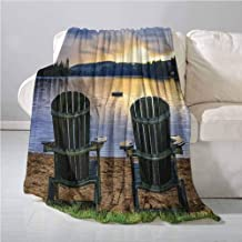 Homrkey Seaside Decor Warm Blanket Two Wooden Chairs on Relaxing Lakeside at Sunset. Algonquin Provincial Park All Season Blanket 60 x 90 Inch Canada