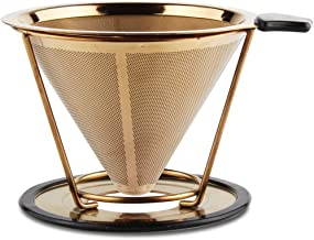 Reusable Coffee Strainer Coated Gold Mesh Paperless Tumbler Coffee Filter Stainless Steel Pour Over Coffee Dripper Compatible with Chemex, Hario V60, Bodum