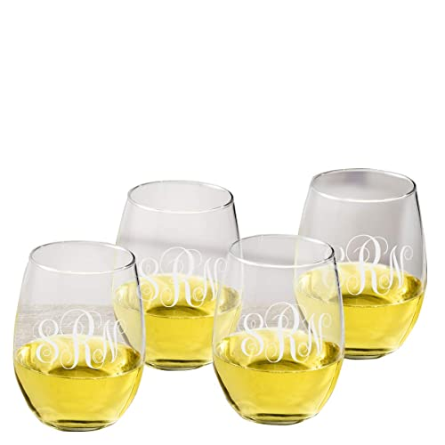 abec7d41a89 Personalized Stemless Wine Glass - Set of 4 - Monogrammed Wine Glass Set