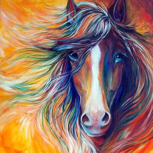 Reofrey 5D Diamond Painting Peinture à l'Huile Cheval Animal, DIY Diamant Peinture Plein Forage Broderie Diamant kit Complet Artisanat Point De Croix Chambre Salon Décoration Murale (35x35cm)