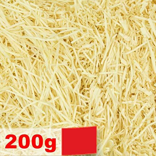 Creative Deco 200g Papel Triturado Amarillo Crema Kraft | Relleno Material de Embalaje para Cesta, Caja, Paquete
