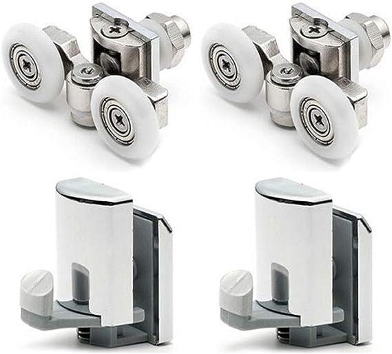 Lot de 4 rouleaux de porte de douche simple 23 mm de diam/ètre Distance 30 mm