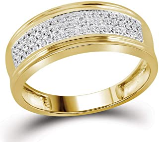 FB جواهر الذهب الأصفر 10kt رجل جولة الماس الزفاف ثلاثة صفوف الفرقة الدائري 1/10 Cttw