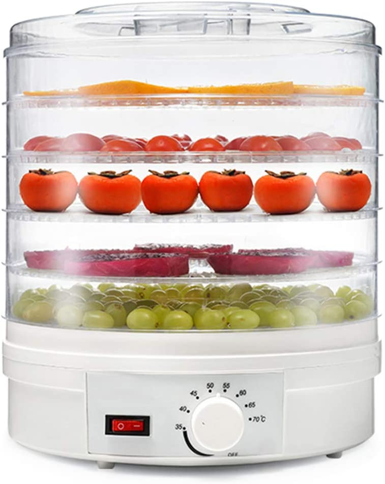 Electric 350W Food-Dehydrator Machine-Countertop White with 5 Trays for Fruit Vegetable Meat Beef Jerky Maker