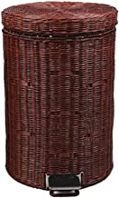 Recycling Bin Pedal Trash Can,Rattan Round Waste Basket with Lid Garbage Can for Kitchen Office & Home Trash Bin Trash can...