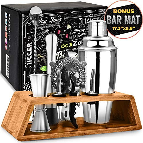 Cocktail Set with Bonus Bar Mat | Bartender Mixing Tool Kit with Elegant Wooden Stand | Premium Bar Set Cocktail Shaker Set | Best Gifts Ideas for Him (Husband, Boyfriend, Dad) Ideal for housewarming