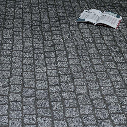 PVC Bodenbelag Kopfstein Pflaster Granit Grau (Muster DIN A4)
