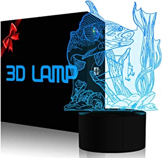 3D Fishing Lamp Illusion Night Light LED Touch Fish Desk Table Lamps 7 Color Change USB 3D Visual Lights Home Bedroom Decor Lighting Birthday Gifts Toys for Boys Kids Fishing Lover by YKL WORLD