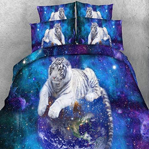 SSLLC - Juego de cama 3D con diseño de lobo, diseño de león impreso, juego de cama con una sola pieza, poliéster multicolor, 3 piezas, 1 funda nórdica y 2 fundas de almohada, 220 x 240 cm