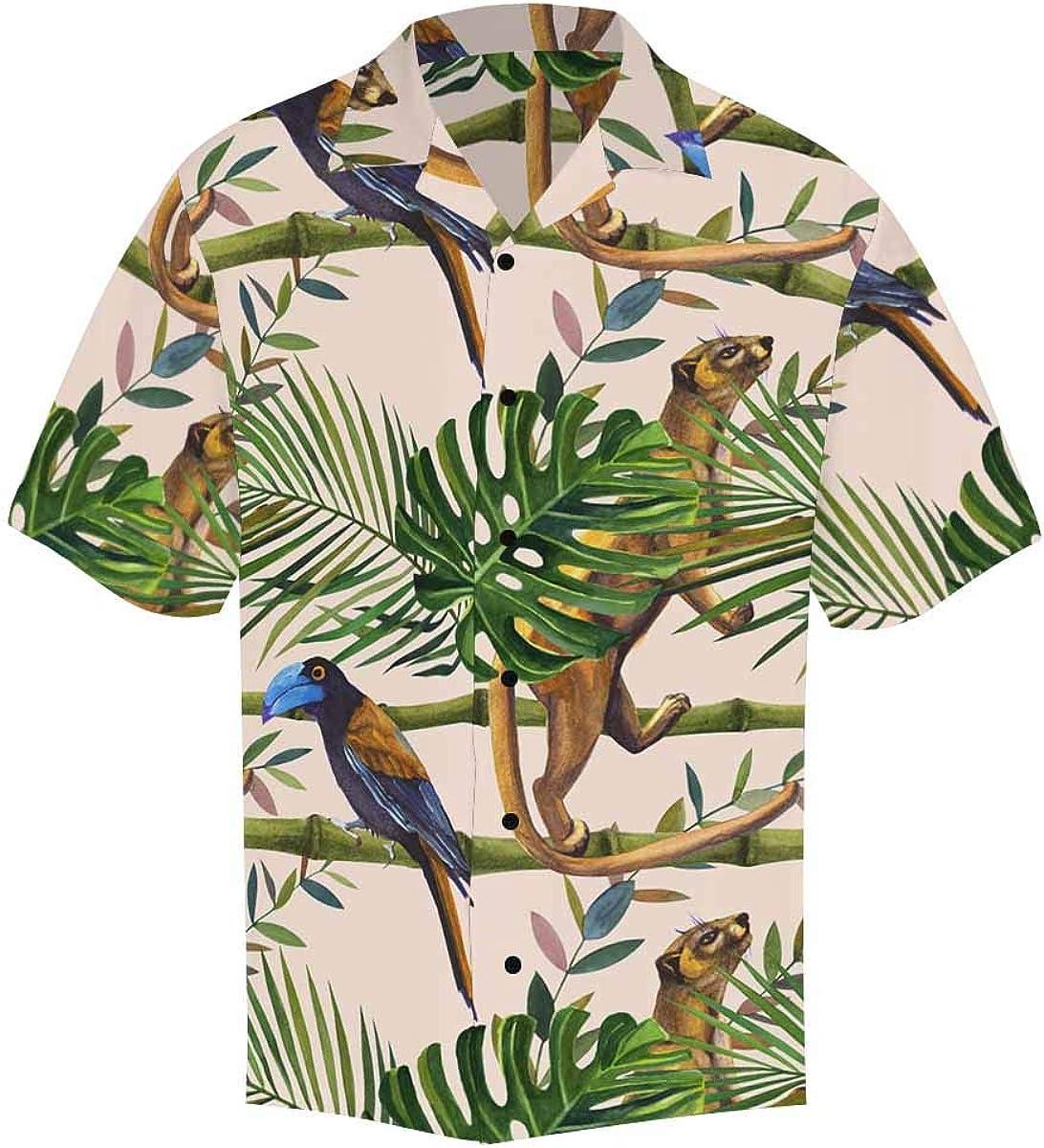 InterestPrint Men's Casual Button Down Short Sleeve Tropical Lion Bird Hawaiian Shirt (S-5XL)