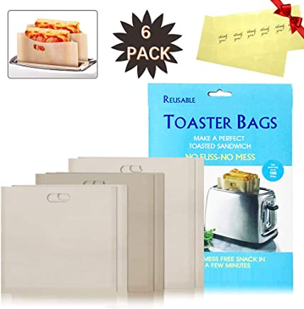 featured product Grilled Cheese Sandwiches Toaster Bags - Non Stick Reusable Heat Resistant Easy to Clean,  Gluten Free,  FDA Approved; Be used for Toasters,  Ovens,  Microwaves (6,  3 Sizes)