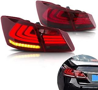 MOSTPLUS RED Smoke LED Brake Tail Lights for 2013-2015 Honda Accord 4 Door Sedan Set of 2