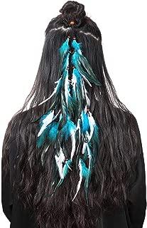 Hippie Feather Headband Boho Headdress - AWAYTR Feather Crown Elastic Gypsy Festival Headband Indian Hair Accessories 1970s (blue+white)