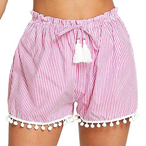 Kurze Hosen Damen Sale Luckycat Shorts Damen Sommer Gestreifte Damen Taillen Quasten Shorts Shorts Hose Sommerhosen Pants Hosen (Rose rot, Small)