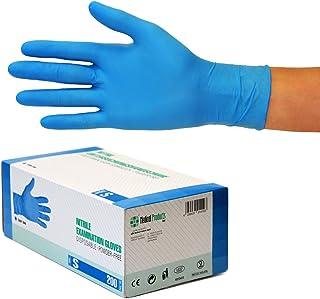 Guantes Desechables de Nitrilo 200 Unidades Caja Talla (S, azul) Guantes de examen, sin latex, sin polvo, no estériles, disposables medical gloves, blue Small