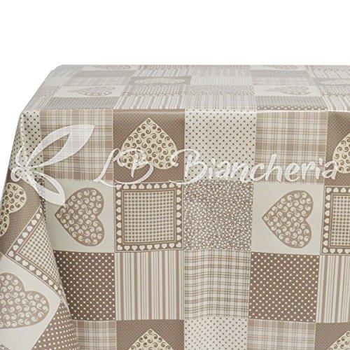 R.P. Tovaglia in PVC Cerata plastificata antimacchia - Quadrata cm 120x120 - Cuori APRICA Beige