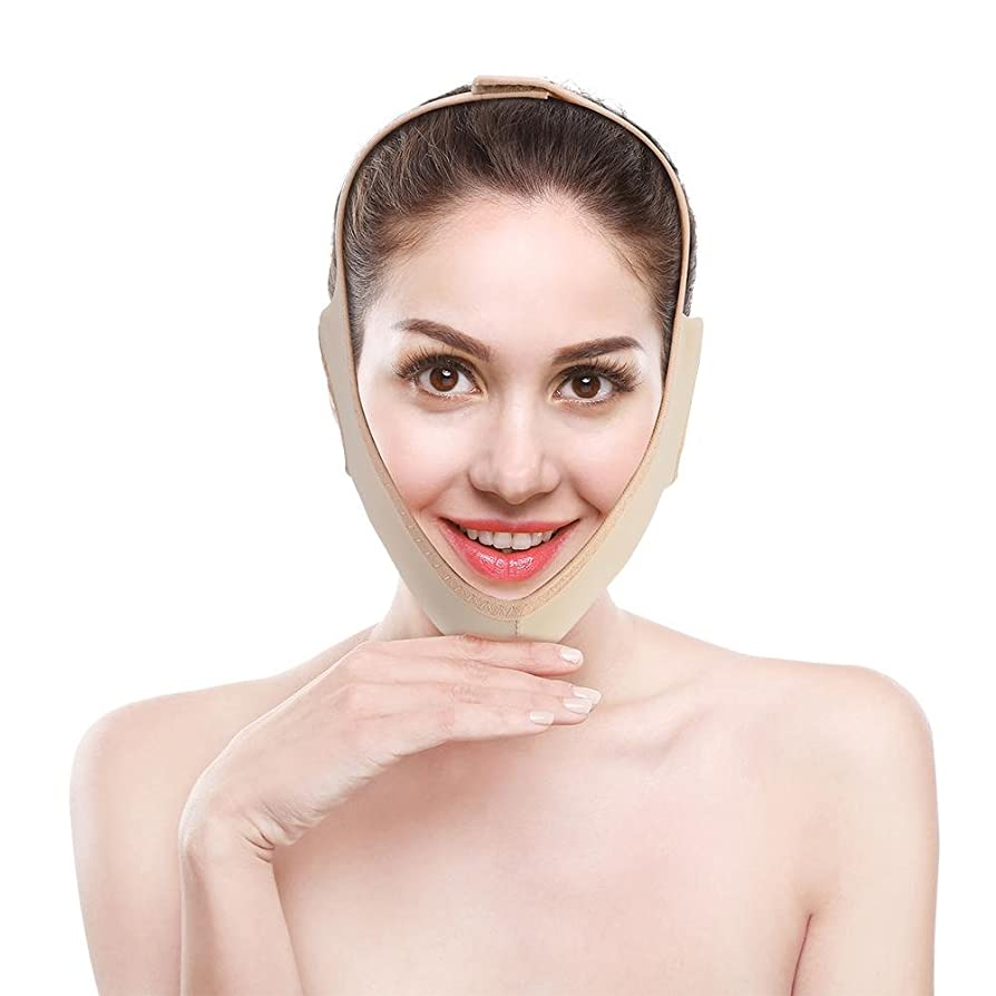 リーチ概要砂の顔の輪郭を改善するVフェイス包帯、フェイスリフト用フェイスマスク、通気性/伸縮性/非変形性(M)