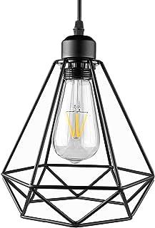 AUA Lampe Suspension Vintage, Suspension Luminaire Industrielle, Rétro Lustre Plafonnier LED E27, Lustre Noir, Lampe Cage ...