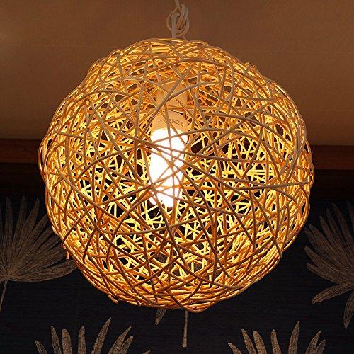 Lámpara de Techo de Papel de Arroz Hecho a Mano Diseño de Bola de Tejer de Madera Decoración Original de Dormitorio