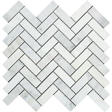 Stone Center Online Carrara White Marble 1x2 Herringbone Mosaic Tile Polished For Kitchen Backsplash Bathroom Flooring Shower Surround Dining Room Entryway Corrido Spa 1 Sheet