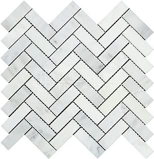 Carrara White Italian (Bianco Carrara) Marble 1 X 3 Herringbone Mosaic Tile, Honed