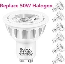 GU10 LED Bulbs 6 Pack 6000K Daylight 500Lumen 90% Energy Saving 5W vs 50W Halogen Bulbs 40 Degree Spotlight MR16 GU10 LED Bulbs 100-240V Not Dimmable for Landscape Track Lighting Kitchen by Boxlood