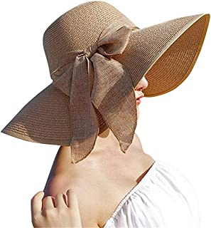 Hat Straw hat Womens Girls Wide Brim Straw Hat Floppy Foldable Roll Up Cap Beach Sun Hat UPF 50+ Sun hat Panama hat (Color : Brown, Size : 56-58cm) (Color : Brown, Size : 56-58cm)