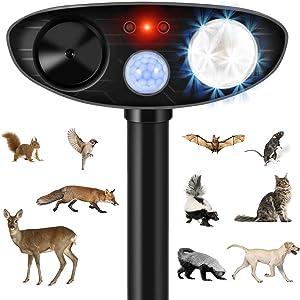 Luckkya Ultrasonic Dog Chaser,Black Animal Deterrent with Motion Sensor and Flashing Lights Outdoor Solar Farm Garden Yard Repellent,Dogs,Cats,Birds