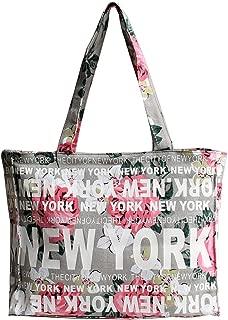 New York Floral Cotton Tote Shoulder Bag