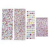 NewZC 2530 Stück Selbstklebenden Strasssteine Farbe Sortiment Selbstklebende Glitzersteine für Weibliche Kinder Handwerke Fotorahmen Grußkarten Dekoration - Verschiedene Größen
