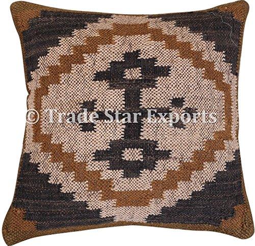 Kilim cojín, almohadas hechas a mano, fundas de cojín indio, fundas de 18x 18, funda de almohada de manta Boho, funda de cojín de yute para exteriores